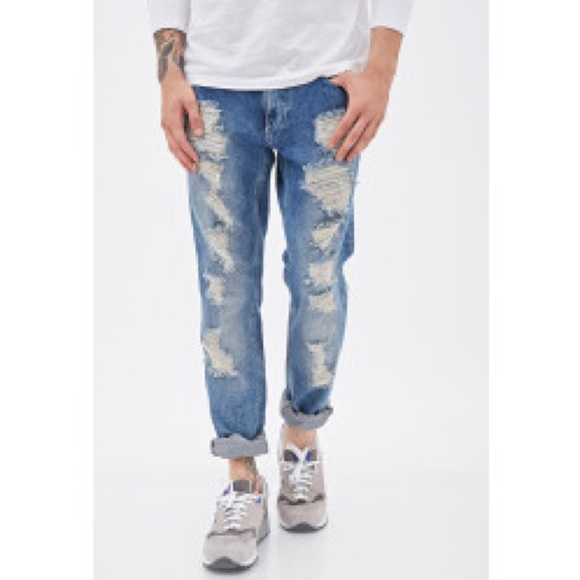 44% off Forever 21 Other - Forever 21 Men Ripped Boyfriend Jeans ...