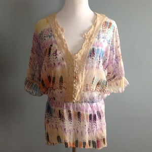Free People boho feather print top