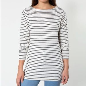 American Apparel Unisex Striped Boat Neck Shirt