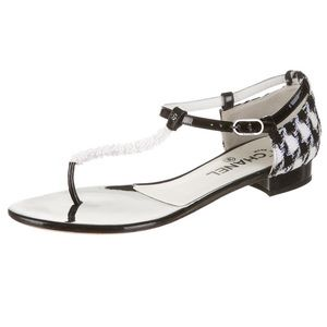 CHANEL Black & White Patent Leather Sandals 40