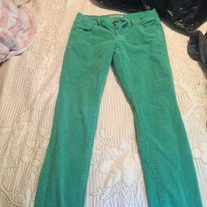 Green corduroy skinny jeans!