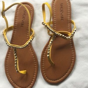 Shoevibe  Yellow Studded Sandals