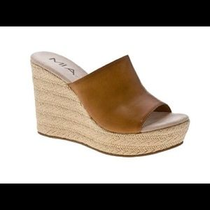 Mia Brown Jeanette Espadrille Wedge Slides