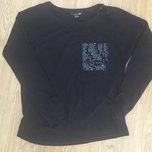 F21 Black Sequin Pocket Long Sleeve Top