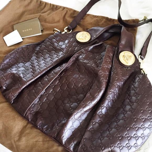 aaead53358a Gucci Handbags - Brown Monogram embossed Gucci Hysteria Hobo Bag