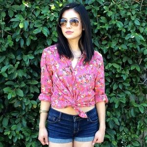 Pink Floral Printed Gap Shirt