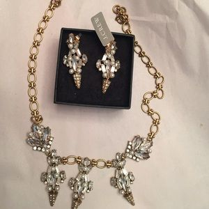 J. Crew pearl and crystal earrings and necklace