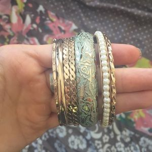 Mint and gold bangles
