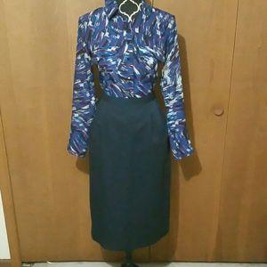 Dresses & Skirts - Skirt - Navy Blue Pencil Midi