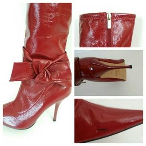 Red boots 3 inch heel