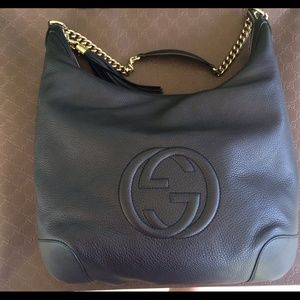 Gucci Black Soho hobo style chain shoulder bag