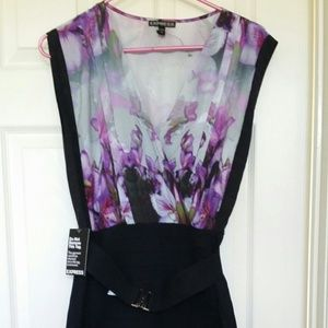 EXPRESS SIZE S FLORAL BODY CON DRESS
