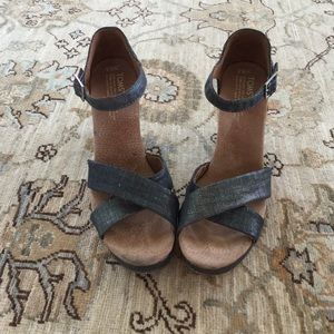 Toms Metallic Denim Wedges