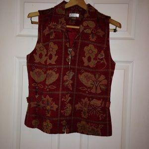 🌟FREE🌟Deep Red Tapestry Print Vest