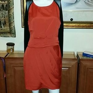 Dark Orange Ruched, Silky Long Sleeved Dress