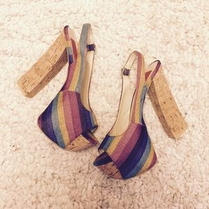 Forever 21 Shoes - Multi-colored Striped Wooden Sandal Open Toe Heels