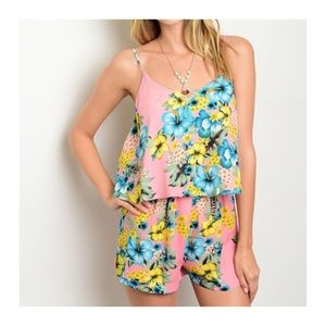 CLEARANCE! PINK TROPICAL ROMPER