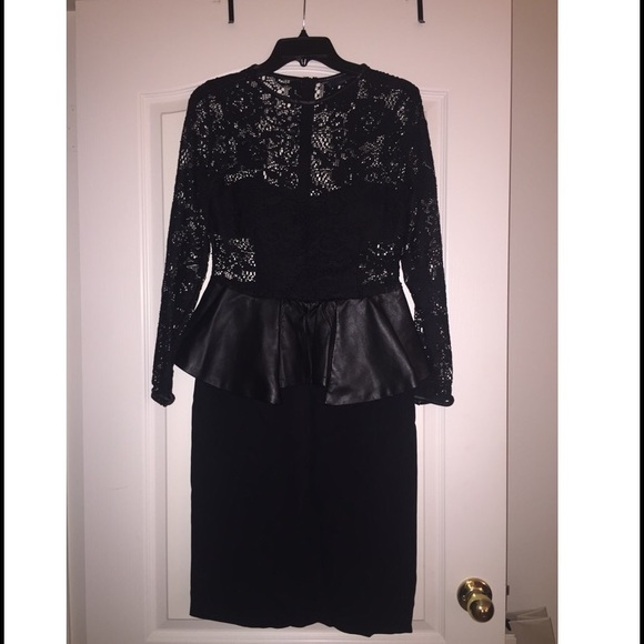 Zara Dresses Lace Leather Peplum Black Dress By Poshmark