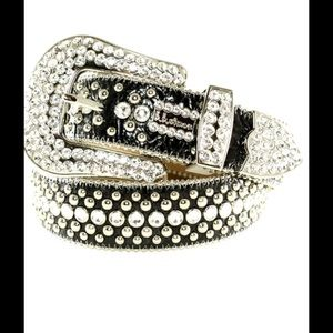 b.b. Simon Accessories - b.b. Simon- Swarovski Crystal Black Leather Belt