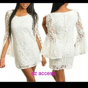 boutique Dresses & Skirts - Vintage style ivory lace dress long sleeves New