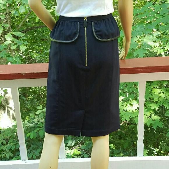 burberry burberry winter peplum skirt with leather trim