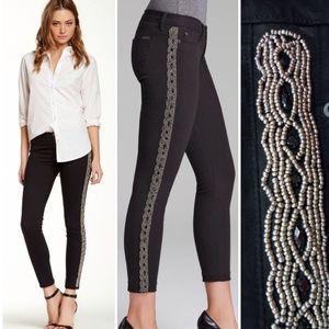 Hudson Jeans Denim - HUDSON Black Bead Trim Luna Crop Skinny Jeans NEW