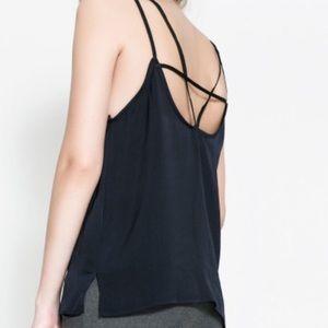 ZARA black strappy back top