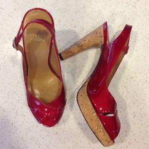 Stuart Weitzman Shoes - ⚡️FINAL SALE⚡️Stuart Weitzman red patent peep toe