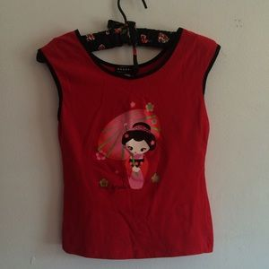 "Tops - Red ""Little Geisha"" Top"
