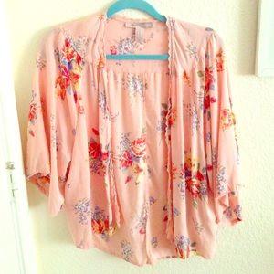 pink floral cardigan