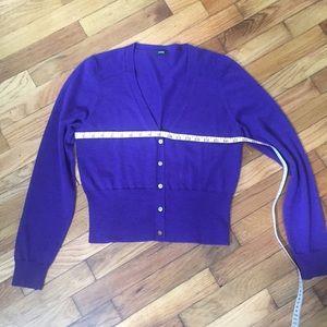 Jcrew wool sweater purple blue cardigan Sz small