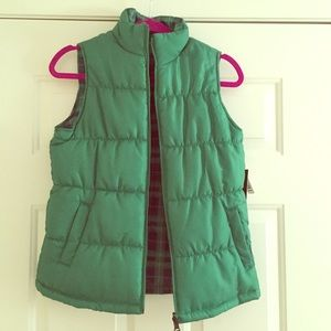 Merona Jackets & Blazers - Green Plaid Reversible Vest!