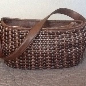 Brighton Handbags - Brighton Leather Basket Woven Satchel