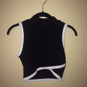 Black crop top w white piping