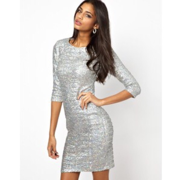 Dresses Holographic Sequin Silver 34 Sleeve Fitted Dress