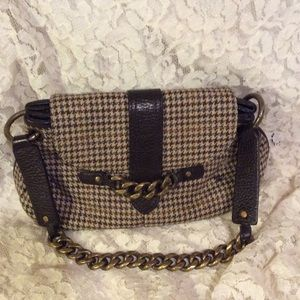 Brown plaid J. Crew clutch