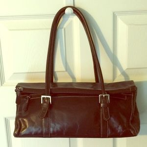 Currency Brown Leather Handbag Wear 2 Ways