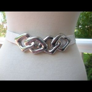 Vintage White Leather Silver Triangle Buckle Belt