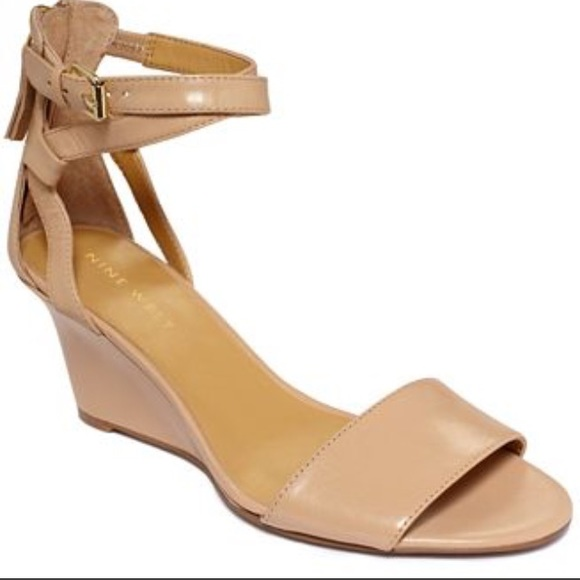 2d8b63a2ebfe Nine West nude ankle strap heels wedge shoes 10. M 5581985435ade24406000a80