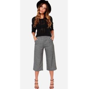 Forever 21 Grey Pinstripe Cropped Gaucho Pants