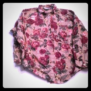 Floral long sleeve button down top