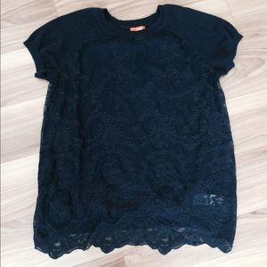 Navy blue shirt w/ lace