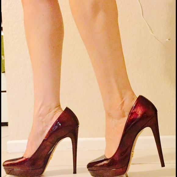 55 off prada shoes prada plums high heels brand new from silvia 39 s closet on poshmark. Black Bedroom Furniture Sets. Home Design Ideas