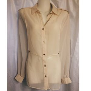 Beige layered, button-down blouse size small