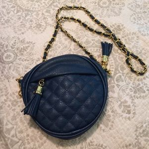 Navy Quilted Crossbody Purse