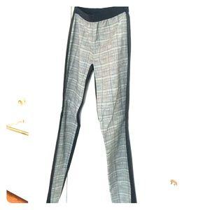 Neil Barrett Pants - Black leather leggings w/ geometric print on front