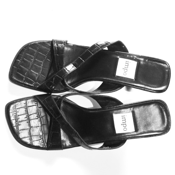 Impo Shoes - Impo Black Croc look Leather Sandals Heels 7M