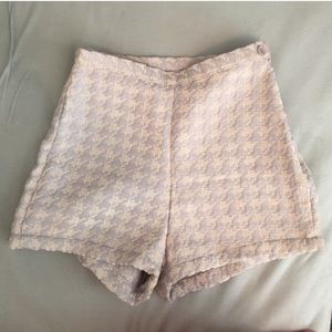 High waisted houndstooth tap shorts