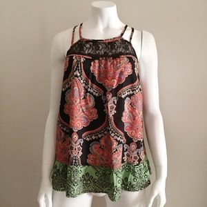 Tops - Lace Top - Green, Pink and Black Baroque Vintage