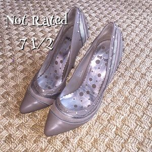 Not Rated Shoes - Not Rated Taupe Brown With Zipper Heels 7 1/2 NEW